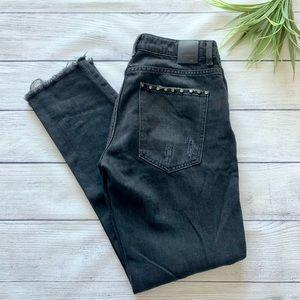Zara Basic Z1975 Denim Black Studded Distressed Relaxed Fit Straight Jeans